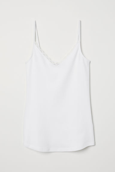 Lace-trimmed strappy top - Cream - Ladies | H&M CN