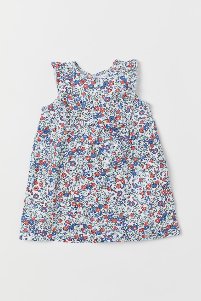 Slub jersey dress - White/Floral - Kids | H&M