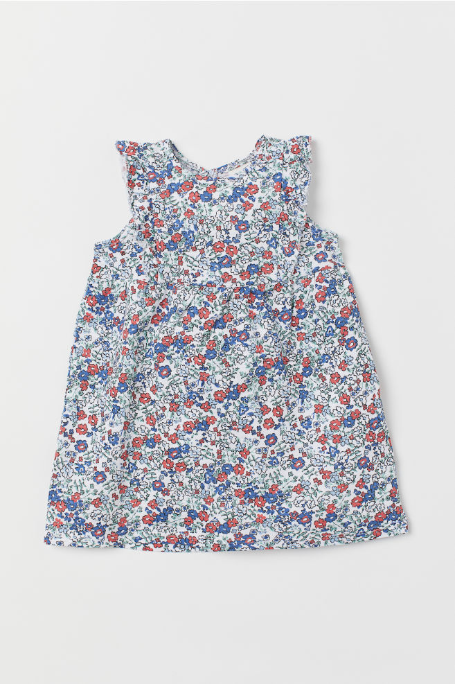 f143399e11 Dżersejowa sukienka - Biały Kwiaty - Dziecko