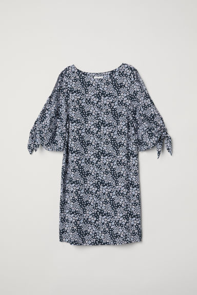 Tie-sleeved dress - Dark blue/Floral - Ladies | H&M