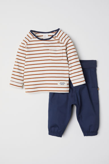 Top and trousers - Dark blue/Striped -  | H&M