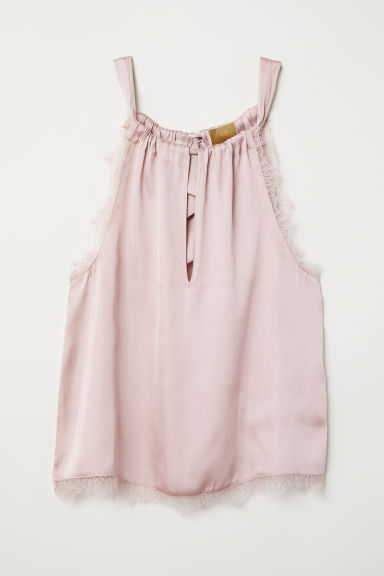 Lace-trimmed satin top - Light pink - Ladies | H&M