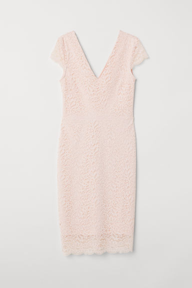 Lace V-neck dress - Powder pink - Ladies | H&M