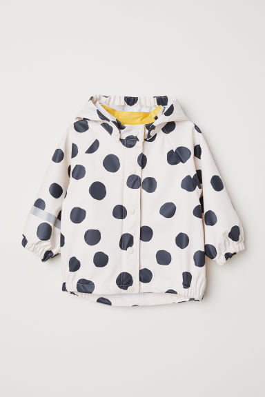 Hooded rain jacket - Natural white/Spotted - Kids | H&M