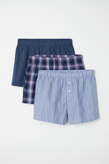 3-pack woven boxer shorts - Dark blue/Checked - Men | H&M