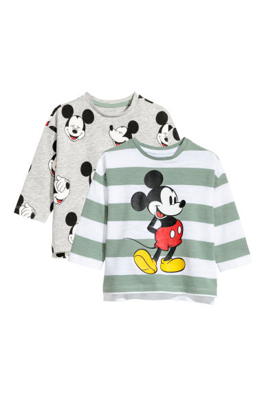 2-pack long-sleeved tops - Light green/Mickey Mouse - Kids | H&M