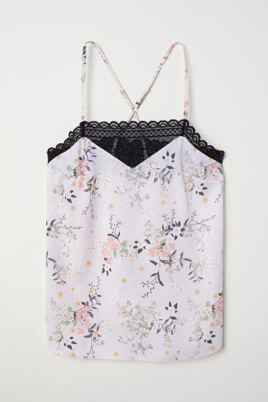 Satin cami with lace - Light beige/Floral - Ladies | H&M CN