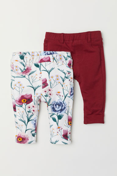 2-pack treggings - Dark red/Floral - Kids | H&M CN