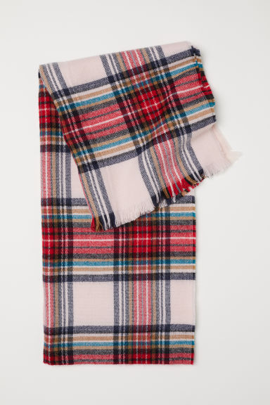 Checked Scarf - Powder pink/checked - Ladies | H&M US