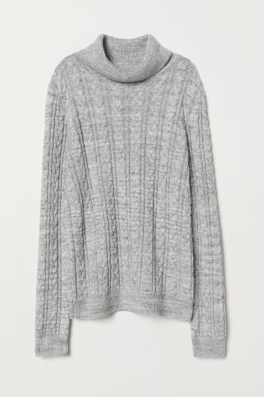 Cable-knit polo-neck jumper - Light grey marl - Ladies | H&M