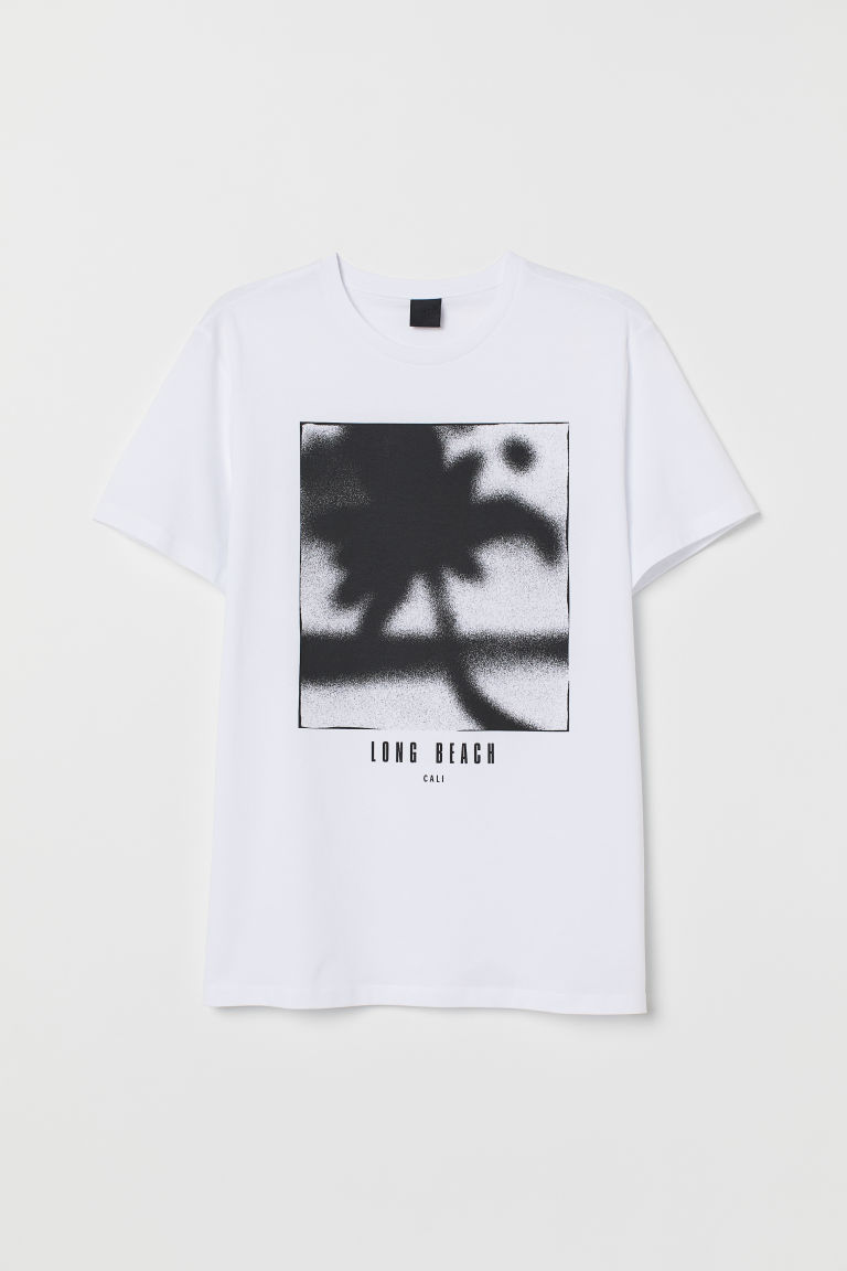 T-shirt with a motif - White/Long Beach - Men | H&M