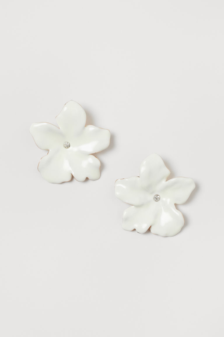 Flower-shaped earrings - White - Ladies | H&M GB