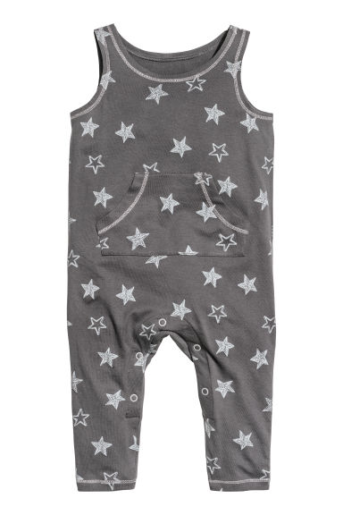 Sleeveless jersey romper - Dark grey/Stars - Kids | H&M CN