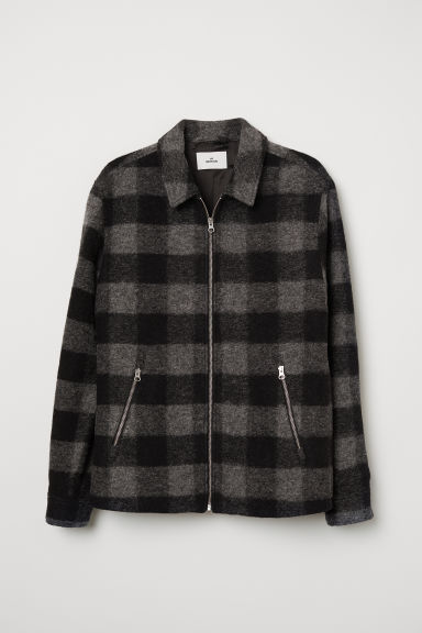 Short wool-blend jacket - Black/Grey checked - Men | H&M CN