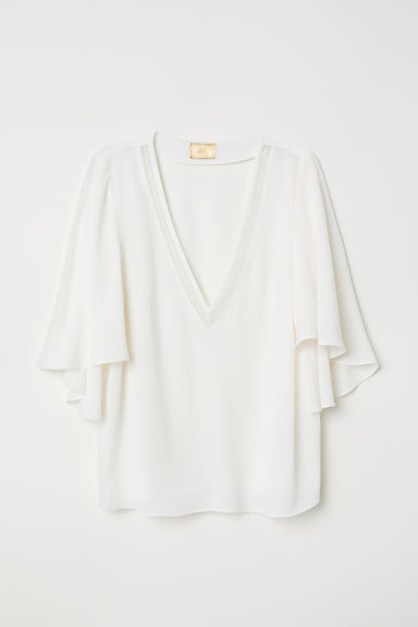 V-neck viscose blouse - Natural white - Ladies | H&M
