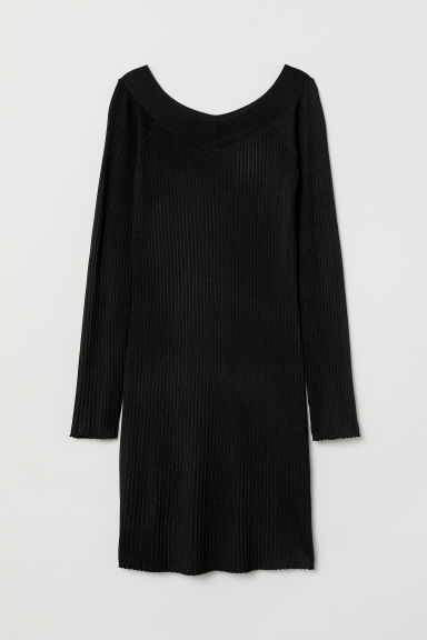 Ribbed dress - Black -  | H&M CN
