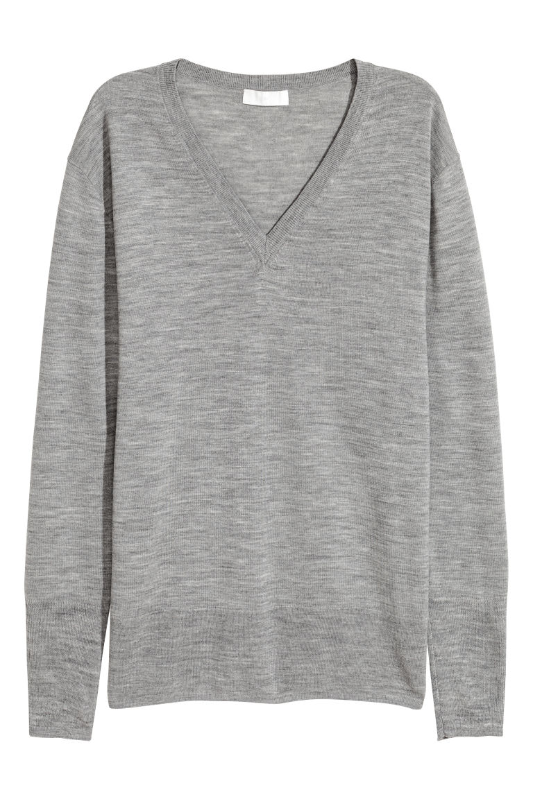 Merino wool jumper - Grey - Ladies | H&M