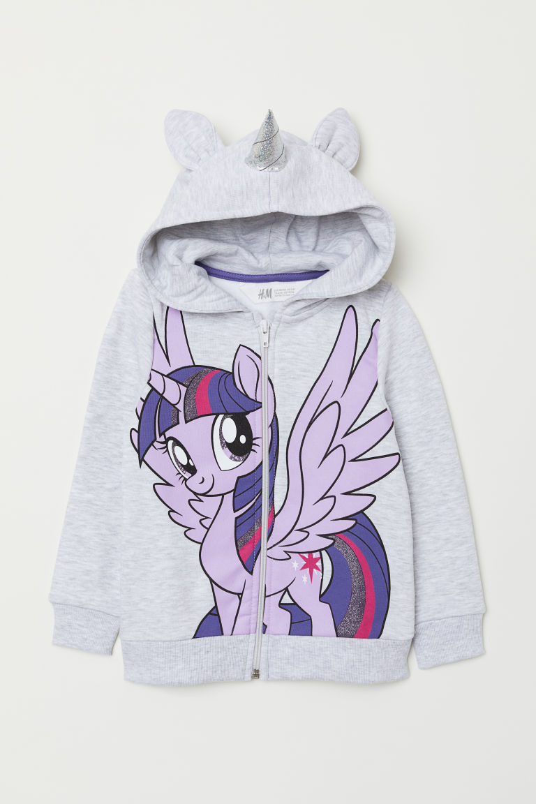 Hooded jacket with appliqués - Light grey marl/My Little Pony - Kids | H&M CN