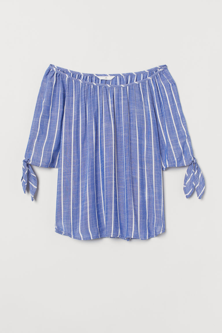 Tie-sleeve blouse - Blue/White striped - Ladies | H&M