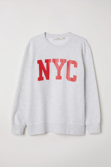 Printed sweatshirt - Grey marl/NYC - Men | H&M CN