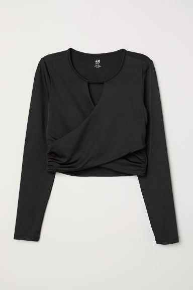 Short yoga top - Black - Ladies | H&M