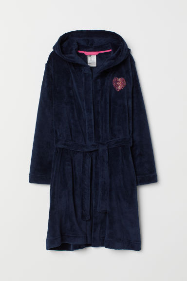 Fleece dressing gown - Dark blue/Heart - Kids | H&M IN