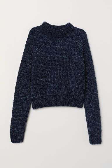 Ribbed jumper - Dark blue/Chenille -  | H&M