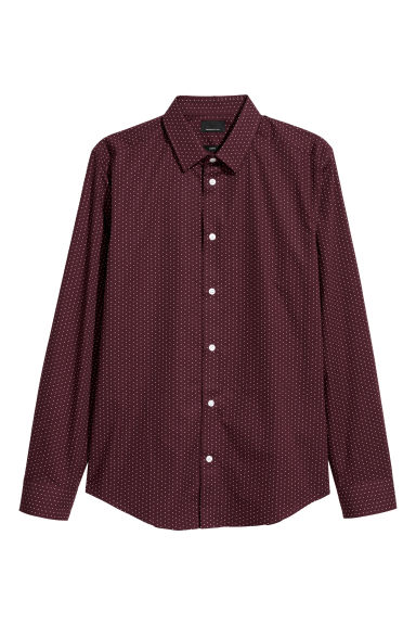 Premium cotton shirt - Dark red/Spotted -  | H&M CN