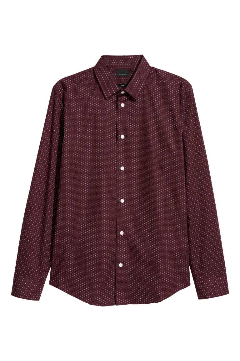 Premium cotton shirt - Dark red/Spotted - Men | H&M