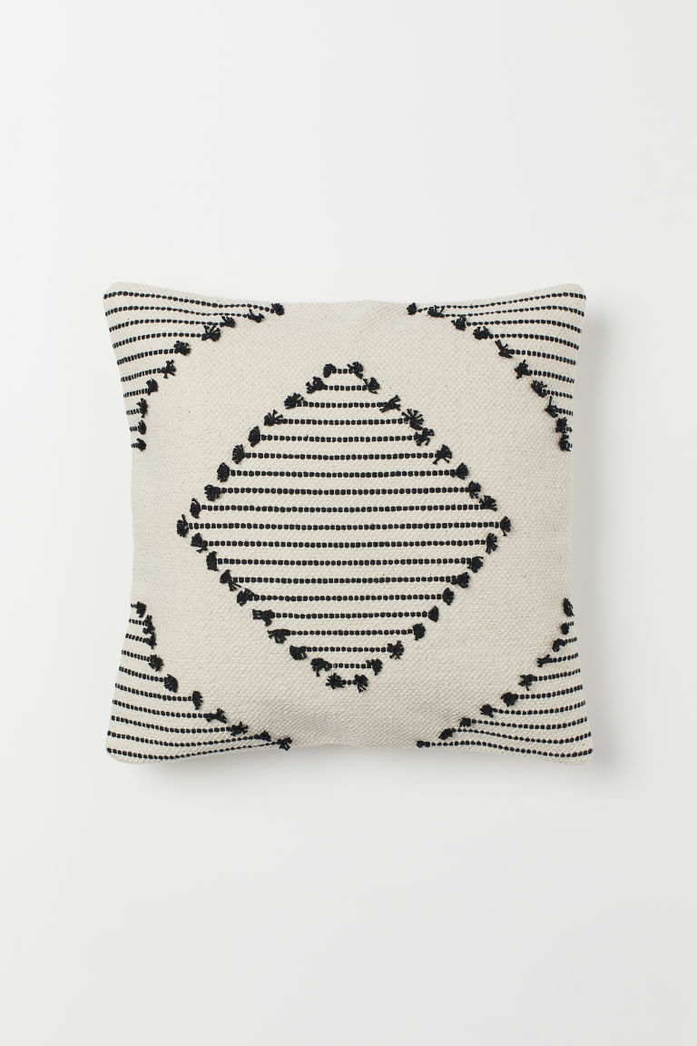 Cotton cushion cover - Light beige/Patterned - Home All | H&M GB