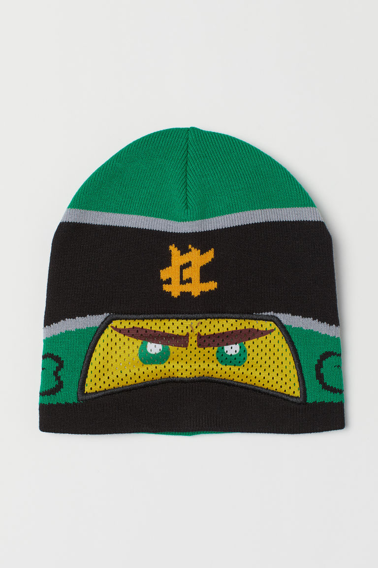 Knitted hat with an eye mask - Green/LEGO - Kids | H&M GB