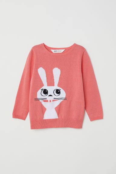 Knitted cotton jumper - Coral/Rabbit - Kids | H&M CN
