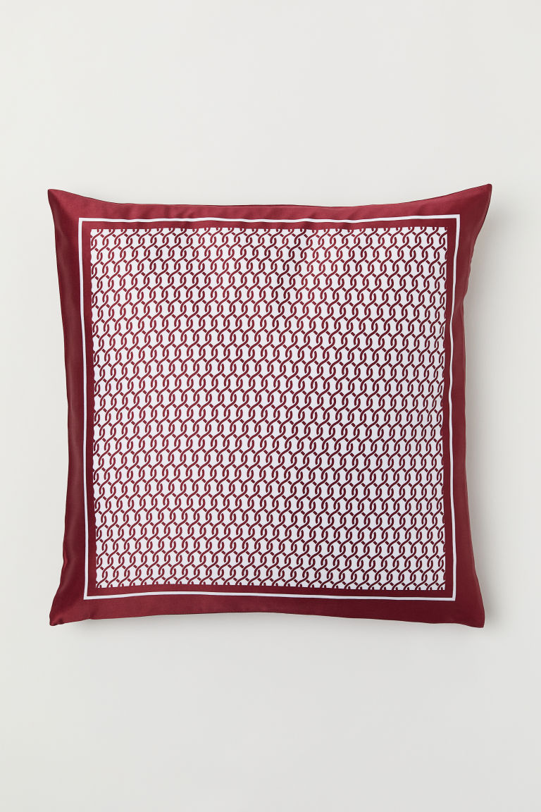 Housse de coussin en satin - Rouge/motif - Home All | H&M FR