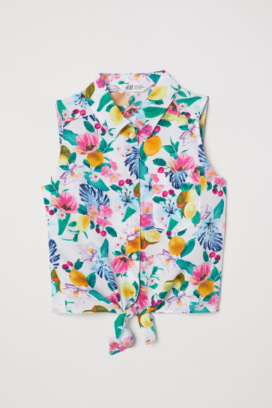 Sleeveless tie-front blouse - White/Floral - Kids | H&M CN