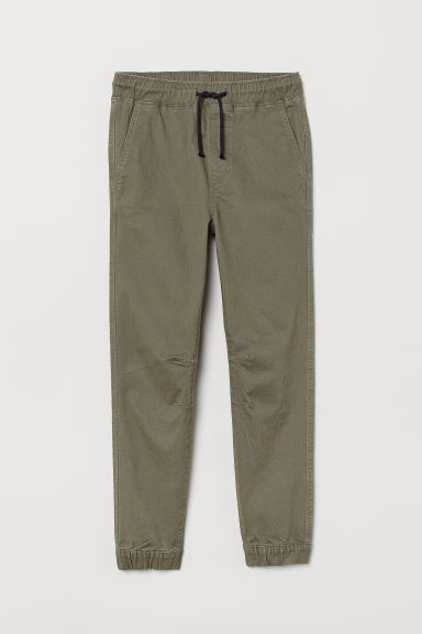 Cotton twill joggers - Dark khaki green -  | H&M