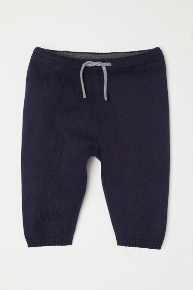 Fine-knit cotton trousers - Dark blue - Kids | H&M CN