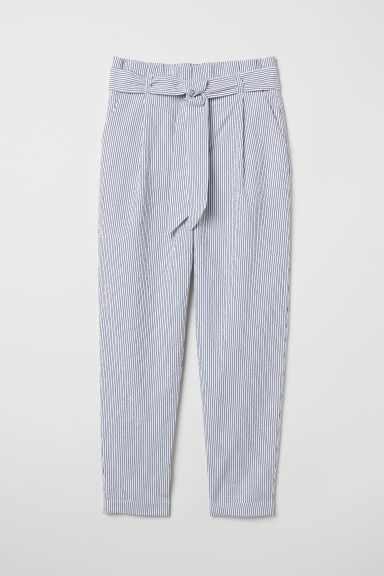 Striped paper bag trousers - White/Blue striped - Ladies | H&M CN
