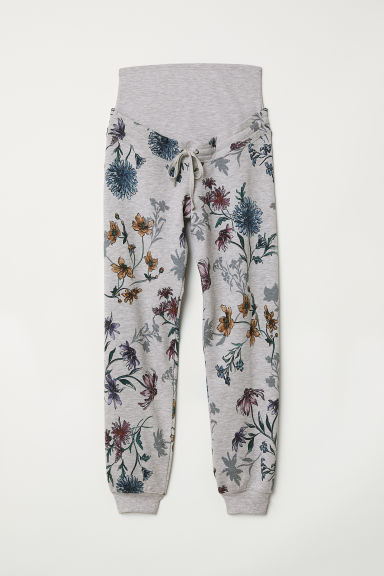 MAMA Patterned joggers - Light grey marl/Floral - Ladies | H&M