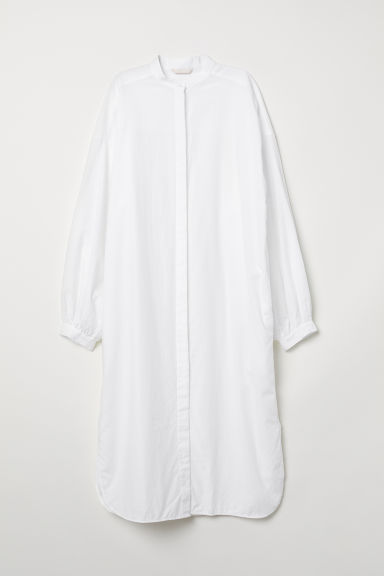 Long cotton shirt - White - Ladies | H&M CN