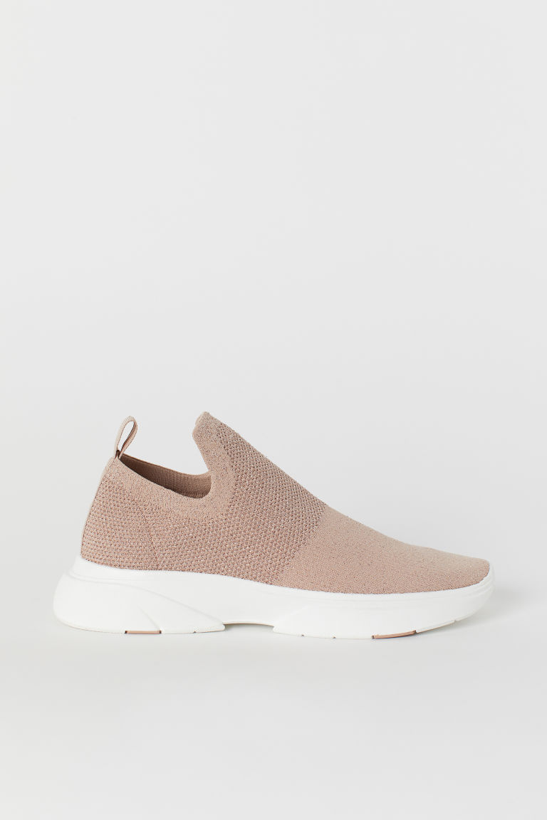 Fine-knit trainers - Powder pink/Glitter - Ladies | H&M CN