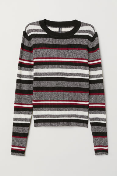 Fine-knit Top - Gray/striped - Ladies | H&M US