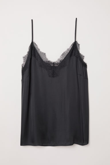 H&M+ Satin cami with lace - Black - Ladies | H&M