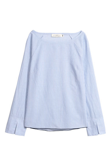 Cotton blouse - Light blue/Striped - Ladies | H&M