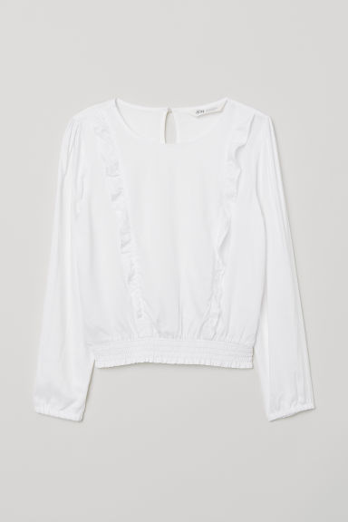 Frilled viscose blouse - White - Kids | H&M