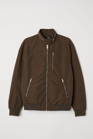 Nylon-blend bomber jacket - Dark khaki green - Men | H&M CN