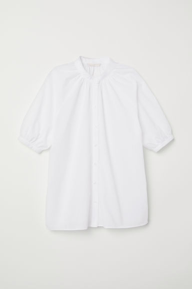 Stand-up collar cotton blouse - White - Ladies | H&M CN