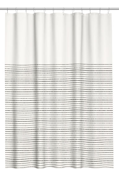 Cotton shower curtain - Natural white/Blue striped -  | H&M CN