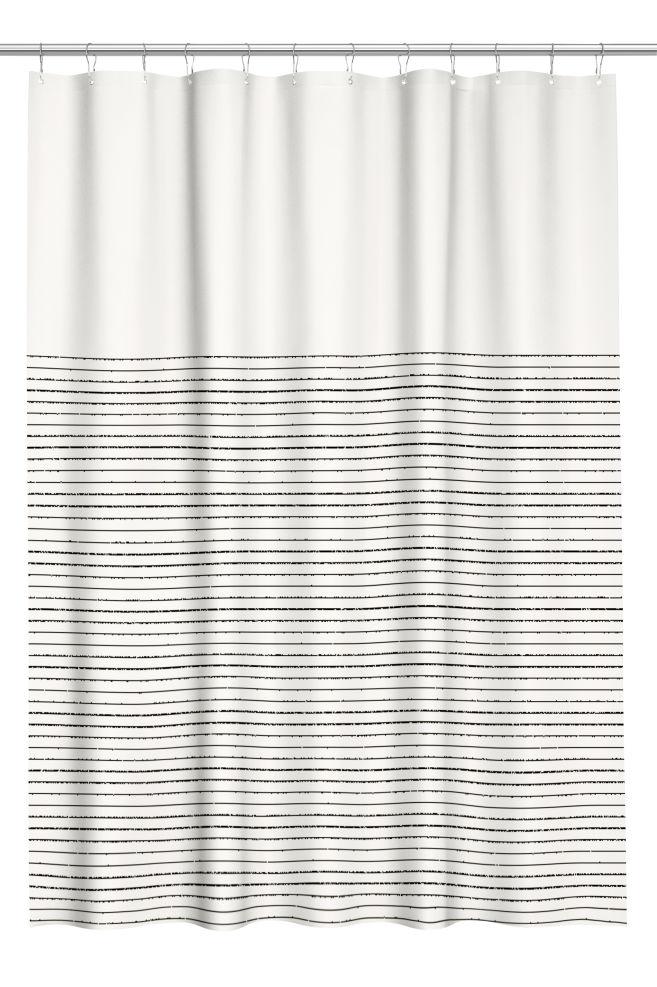 Glimrende Dusjforheng i bomull - Naturhvit/Blå stripet - Home All | H&M NO IY-21
