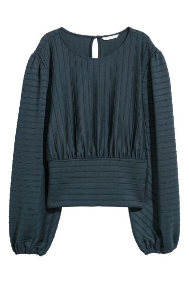 Textured-stripe top - Dark blue -  | H&M
