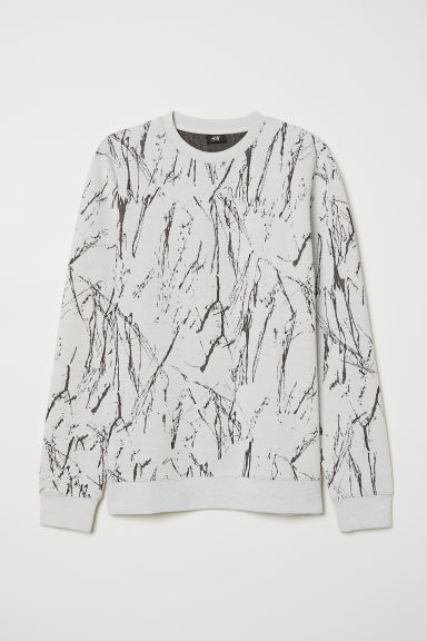 Jacquard-knit jumper - Natural white/Black patterned - Men | H&M CN